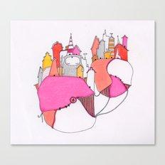 Pink city lights Canvas Print