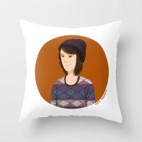 tegan and sara Throw Pillows featuring Tegan and Sara: Tegan portrait #3 by Cas.