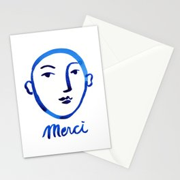 Merci, face watercolor painting, blue and white printable wall art, minimalist wall art print, insta Stationery Cards