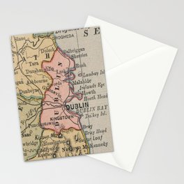 Vintage Map of Dublin Ireland (1883) Stationery Cards