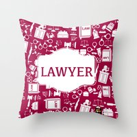 lawyer Throw Pillows featuring Red Lawyer by Be Raza