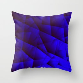 Dark contrasting blue fragments of crystals on triangles of irregular shape. Throw Pillow