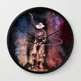 Cowboy rope trick Wall Clock