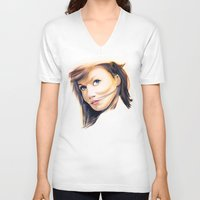 tupac V-neck T-shirts featuring Ginger Spice (Geri Halliwell) Rapper Tee! by Eric Terino