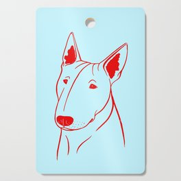 Bull Terrier (Light Blue and Red) Cutting Board