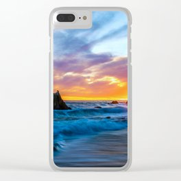Sunset over Waves Clear iPhone Case