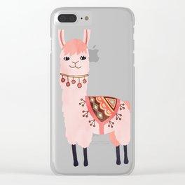 Cute Lama Sticker Clear iPhone Case