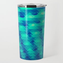Modern Fashion Abstract Color Pattern in Blue / Green Travel Mug