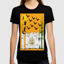 Black Cat on a Spooky Fence - Halloween T-shirt