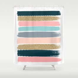 Zara - Brushstroke glitter trendy girly art print and phone case for young trendy girls Shower Curtain