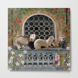 Ferrets Out on the Balcony Metal Print