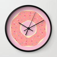doughnut Wall Clocks featuring #93 Doughnut by MNML Thing