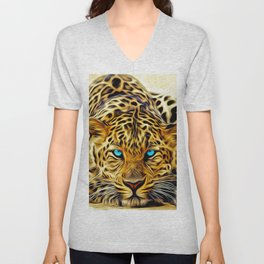 A blue eyes African tiger Unisex V-Neck