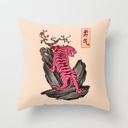 Japanese Courage Tiger Throw Pillow