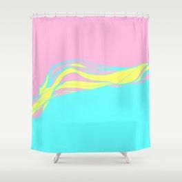 pink & teal waves / minimalist Shower Curtain