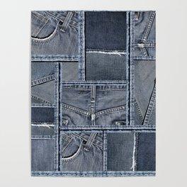 Blue Jeans Denim Patchwork Pattern Poster