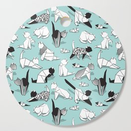Origami kitten friends // aqua background paper cats Cutting Board