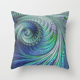 Blue Swirls Fractal Throw Pillow