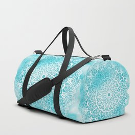 Blue Sky Mandala in Turquoise Blue and White Duffle Bag