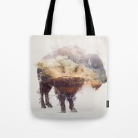 bison Tote Bags featuring Bison by Daniel Taylor