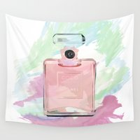 perfume Wall Tapestries featuring perfume bottle by HeyShay