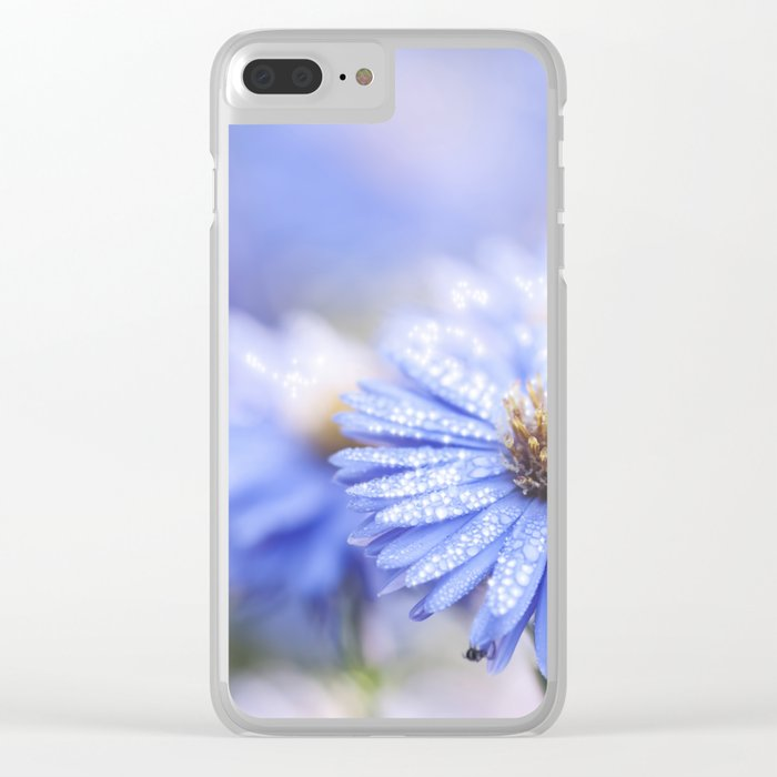 Blue Aster in LOVE - Flowers Flower Floral Clear iPhone Case