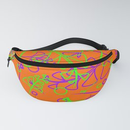 Botanical mustard pattern of green and purple plants and blades of grass on an ocherous background. Fanny Pack