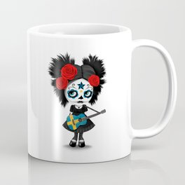 Day of the Dead Girl Playing Swedish Flag Guitar Coffee Mug