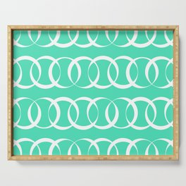 Menthol green and white elegant intersecting circles pattern Serving Tray