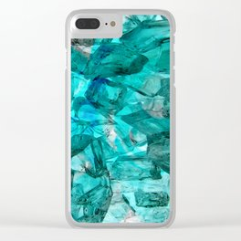 Turquoise Glass Chrystal Abstract Clear iPhone Case