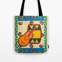 drum Tote Bags featuring Drum by Karen Cabral Sullivan Illustration & Des