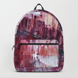 Sunset in the Valley: a colorful abstract piece in reds, pink, gold, gray, and white Backpack