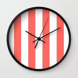 Vertical Stripes - White and Pastel Red Wall Clock