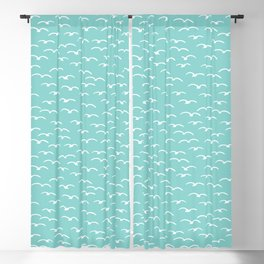 Cute seagulls flying in summer sky. Blackout Curtain