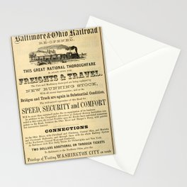 Advertisement for the Baltimore and Ohio Railroad from 1864 Stationery Cards