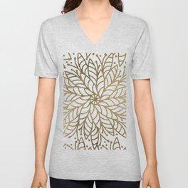 Elegant white faux gold floral trendy mandala Unisex V-Neck