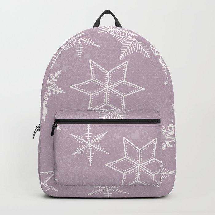 Snowflakes on pink background Backpack