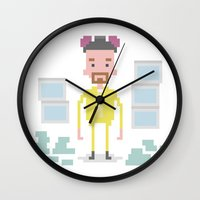 walter white Wall Clocks featuring Walter White by Andrew Fox