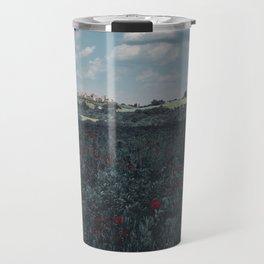 Red flowers in tuscany Travel Mug