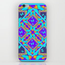 Western Style Purple Turquoise Butterflies Creamy Gold Patterns iPhone Skin