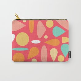Coral And Mixed Shapes Carry-All Pouch