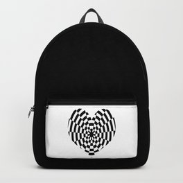 Monochrome Daze Black and White Heart Backpack