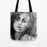 jessica lange Tote Bags featuring Jessica by Judy Hung