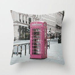 Pink Telephone Booth Romantic Photography Throw Pillow