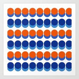 Vibrant Blue and Orange Dots Art Print