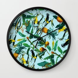 Fruit and Birds Pattern Wall Clock