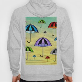 Colorful umbrellas flying in the sky Hoody