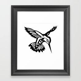 Hummingbird black on white Framed Art Print
