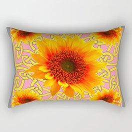 Decorator Sunflower Grey-Coral Color Floral Celtic art Rectangular Pillow
