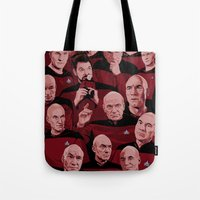 picard Tote Bags featuring Picard Day by Brian J. Smith